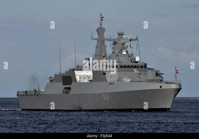 Algerian Frigate 910 performing seatrials - Stock Image