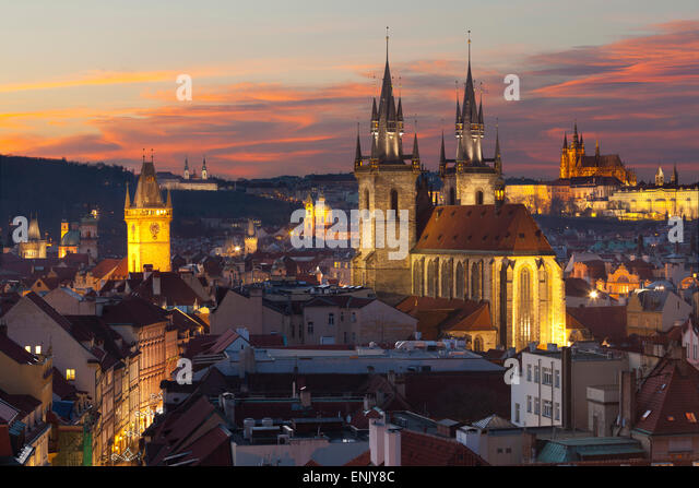 Overview of the Historic Centre at sunset, Prague, Czech Republic, Europe - Stock-Bilder