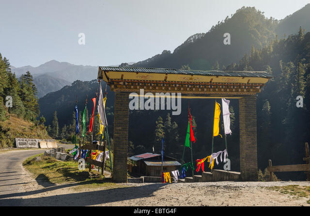 Entrance to Chendebji restaurant, Bhutan - Stock Image