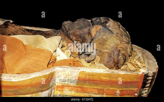 The coffin of Dismutenibtes in the Museum of Cultural History in Oslo 747-664BC, Egypt - Stock Image