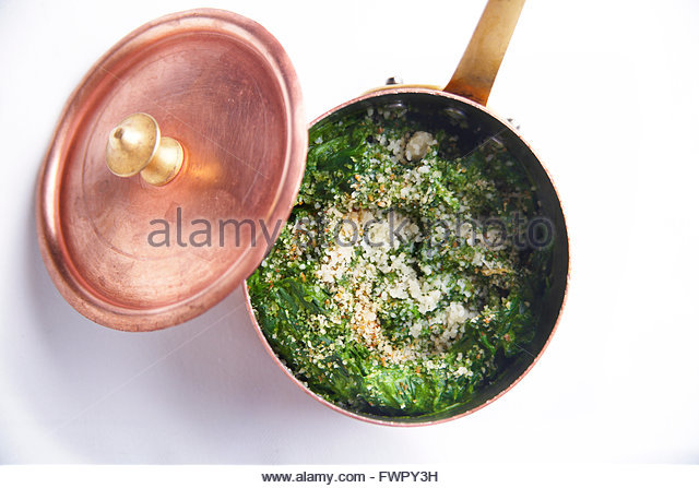 Cream of spinach with parmesan - Stock Image