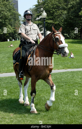 Boston Park Ranger on duty in Boston Common - Stock Image