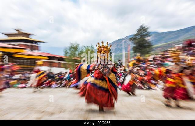 Dance of terrifying deities (Tungam) Paro religious festival Bhutan - Stock-Bilder
