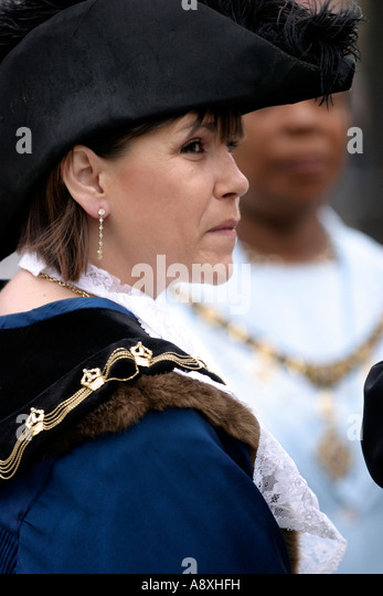 bicorn hat, feather, Sheriff of Nottingham, lady, councillor, ruff, lace - Stock Image