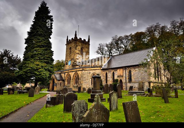 Eyam; Church; Derbyshire; UK - Stock Image