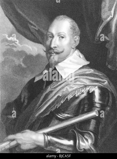 Gustavus Adolphus (1594 -1632) of Sweden on engraving from the 1800s. Founder of the Swedish Empire. - Stock Image