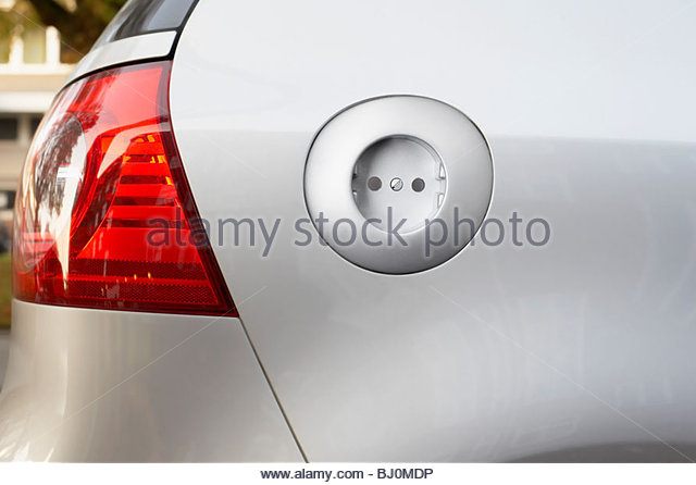 rear view of electric car with socket - Stock Image