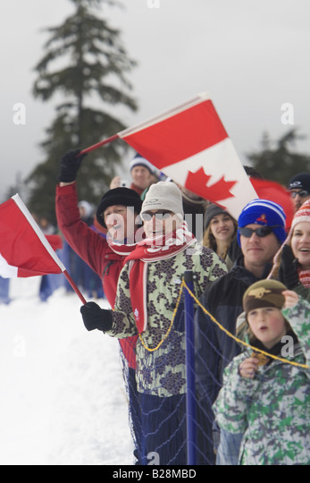 People celebrating Whistler British Columbia Canada  skiing callahan valley, - Stock Image