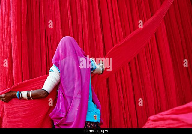 India, Rajasthan, sari garment factory - Stock Image