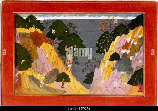 Landscape. Gita Govinda painted by Manaku inscribed Basohli. Dated 1730 a.d. Hill school of painting. National Museum - Stock Image