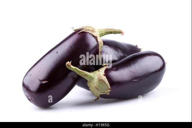 Eggplants or aubergines - Stock Image