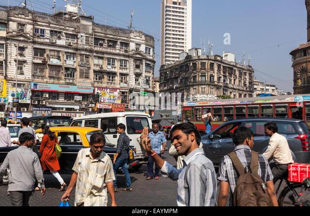 crowded street in Mumbai, India - Stock Image