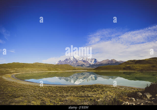 Mountain reflections at Torres Del Paine National Park, Chile - Stock Image