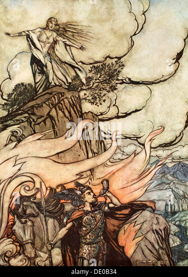 'Siegfried leaves Brunnhilde in search of adventure', 1924.  Artist: Arthur Rackham - Stock Image