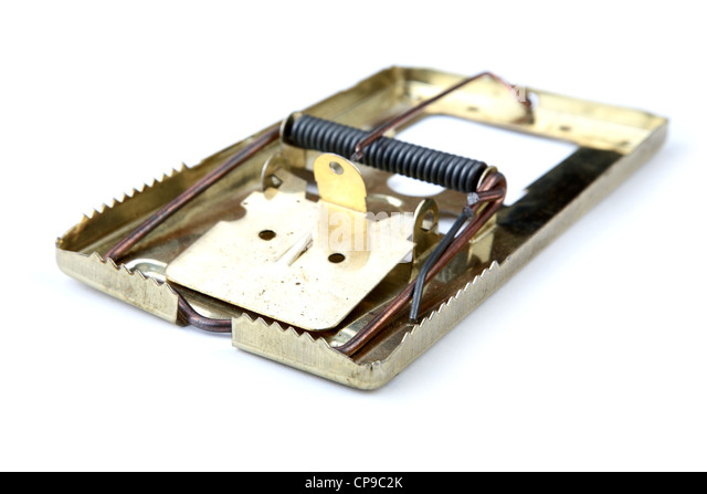 Metal mousetrap on a white background - Stock Image