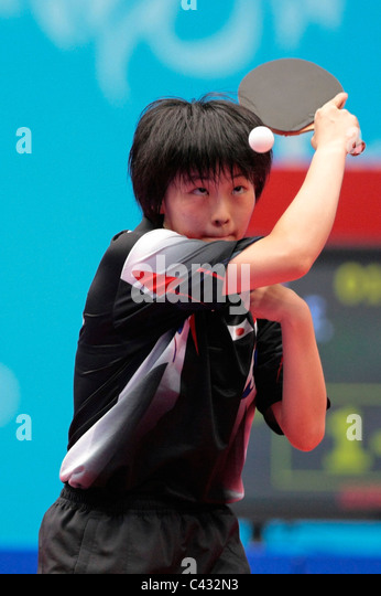 Tanioka Ayuka of Team Japan competing in the 2010 Singapore Youth Olympic Games Table Tennis Mixed Team Finals. - Stock Image
