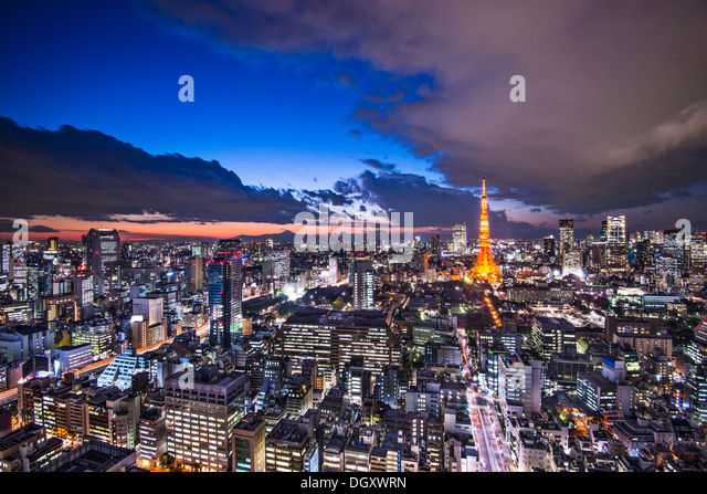 Tokyo Japan after sunset. - Stock Image