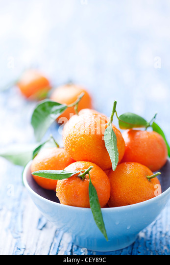 bowl of mandarins - Stock Image