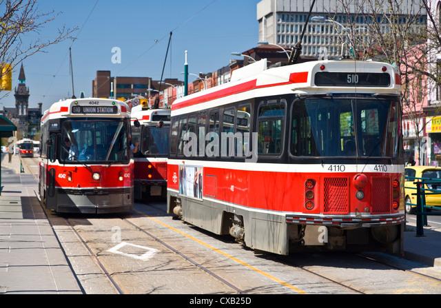 The 510 streetcar is one of eleven remaining streetcar routes in Toronto, Sadina Avenue, Toronto, Ontario, Canada, - Stock Image