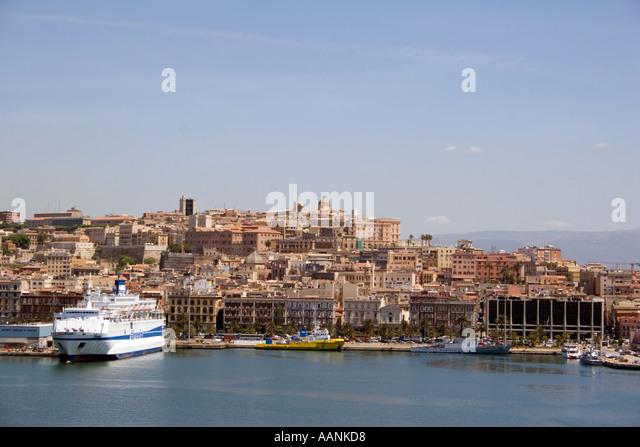 Cagliari Port and city, Sardinia, Europe - Stock Image
