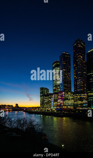 Night view of Moscow City business centre - Stock-Bilder