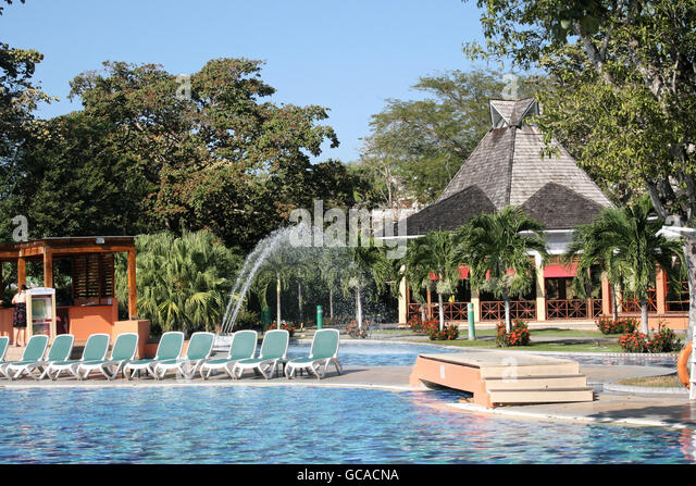 Poolside at Decameron resort in Panama. - Stock Image