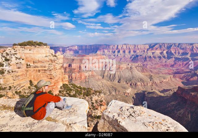 Female Tourist Hiker, Walhalla overlook, North Rim, Grand Canyon National Park, Arizona, USA - Stock Image