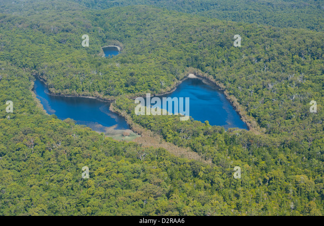 Aerial of the Butterfly Lakes, Fraser Island, UNESCO World Heritage Site, Queensland, Australia, Pacific - Stock Image