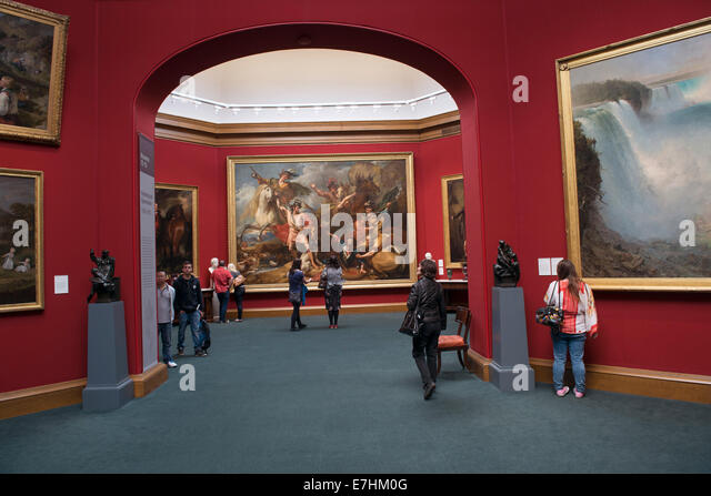 National Gallery of Scotland.  Largest painting at center, painted by Benjamin West, Alexander III of Scotland Rescued - Stock Image