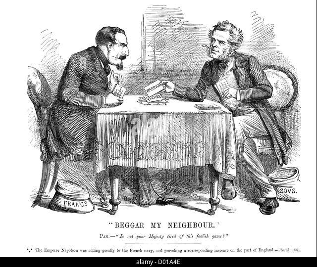 Beggar my Neighbor. Political cartoon about an arms race between the British and French Navies march 1861 - Stock Image