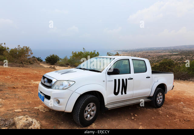 Toyota of the United Nations Peace keeping force based in Cyprus at Cape Greco - Stock Image
