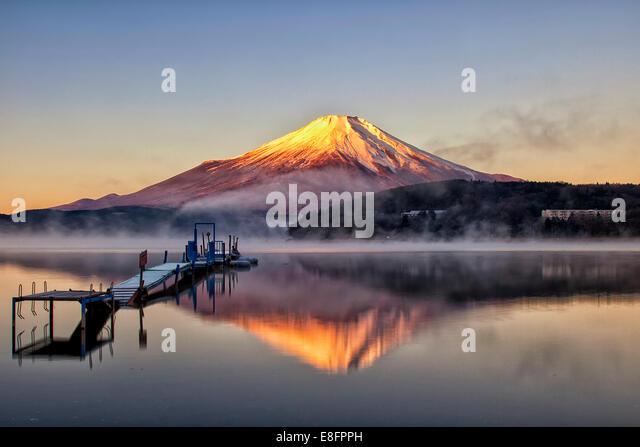 Morning at Yamanaka Lake - Stock Image