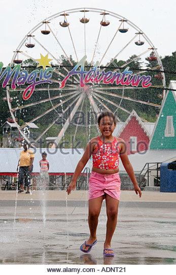 Birmingham Alabama VisionLand Magic Adventure Theme Park fountain Black girl - Stock Image