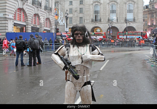 London,UK,1st January 2014,A cross between planet of the apes and star wars costume at the London's New Year's - Stock Image