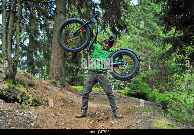 Fun with Fat Bike, Thuringian Forest, Germany - Stock-Bilder