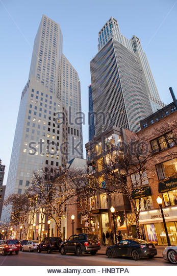 Holiday lights illuminate exclusive shops along Oak Street, off Michigan Avenue's  Magnificent Mile in 2013. - Stock Image