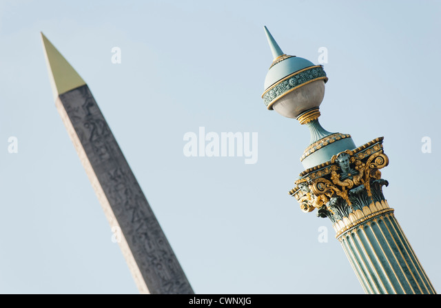 Ornate lamp post of Obelisk of Luxor, Place de la Concorde, Paris, France - Stock Image