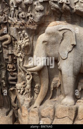 Arjuna Penance the world largest stone bas relief at Mahabalipuram or Mamallapuram, Tamil Nadu state in India. - Stock Image