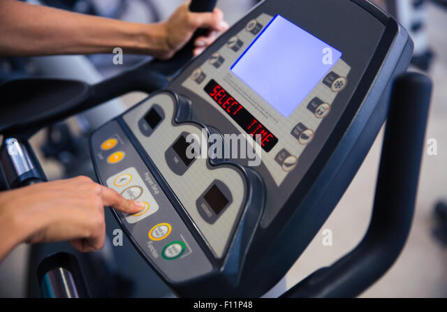 Closeup portrait of interface of fitness machine in gym - Stock-Bilder