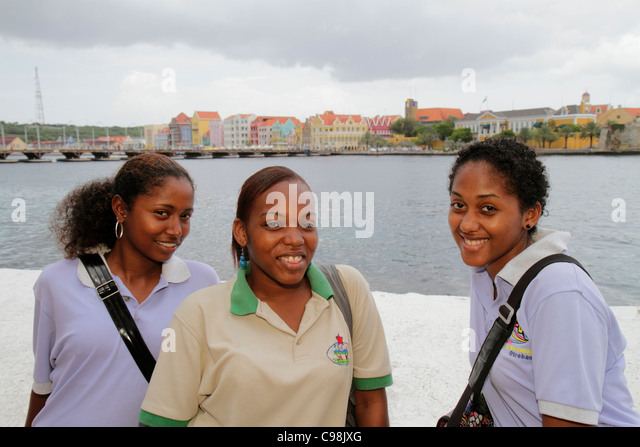 Curaçao Netherlands Antilles Dutch Willemstad Otrobanda Punda St. Saint Sint Anna Bay Handelskade waterfront - Stock Image