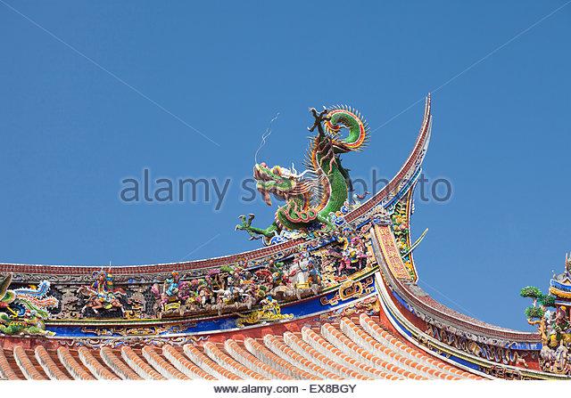 Taiwan, Taipie, Temple Roof. - Stock Image