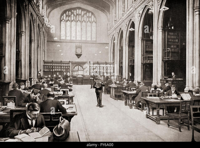 The Reading Room, Guildhall Library, London, England in the early 20th century. - Stock Image