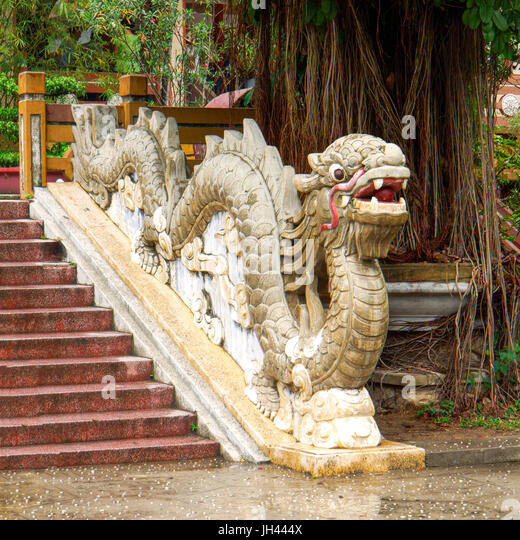Dragon in a Temple garden. Nha Trang, Vietnam - Stock Image