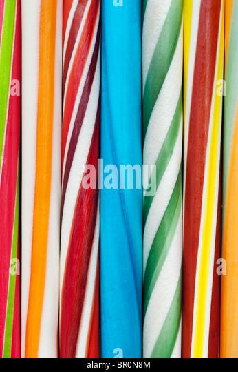 Multicoloured sticks of rock. Seaside rock pattern - Stock-Bilder