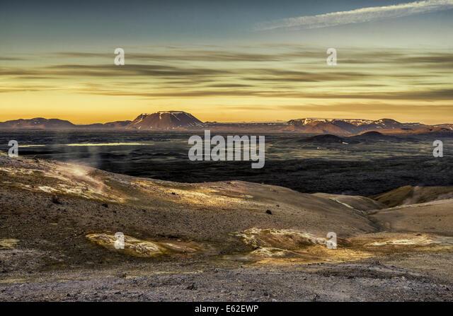 Geothermal hot springs, mud pots and fumaroles, Namaskard close to Lake Myvatn, Northern, Iceland - Stock Image