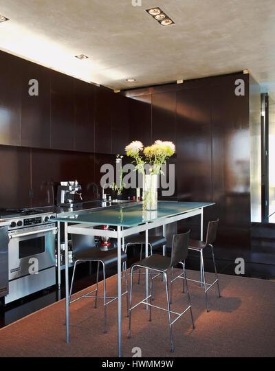 Kitchen and dining area on the second floor. Xeros House, Phoenix, United States. Architect: Blank Studio, 2006. - Stock-Bilder