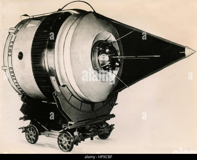 Last stage model of cosmic rocket, USSR 1959 - Stock Image