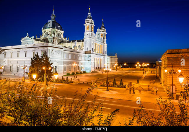 Madrid, Spain at La Almudena Cathedral and the Royal Palace. - Stock-Bilder