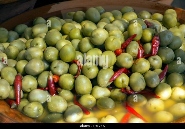 Olives.Food market.Mallorca - Stock Image