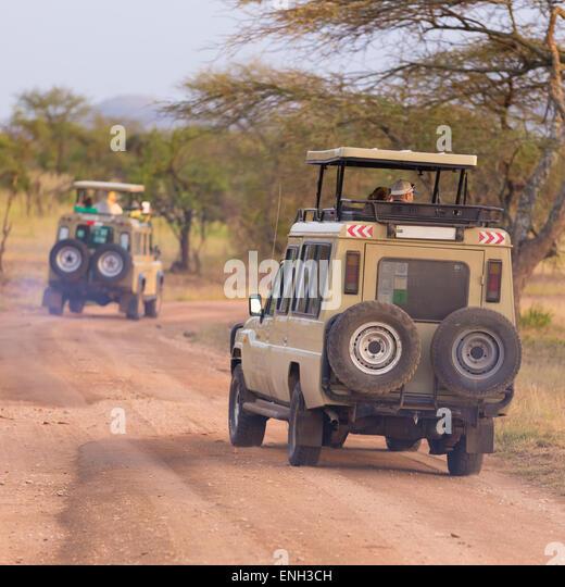 Jeeps on african wildlife safari. - Stock Image
